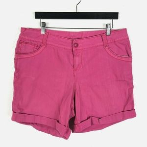 Lane Bryant Size 14 16 Denim Shorts Pink 5 Pocket